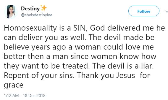 Lesbian testifies after God delivered her
