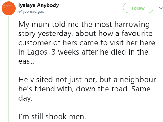 Twitter stories: Nigerian lady shares shocking story of a man who visited her mum a month after his death
