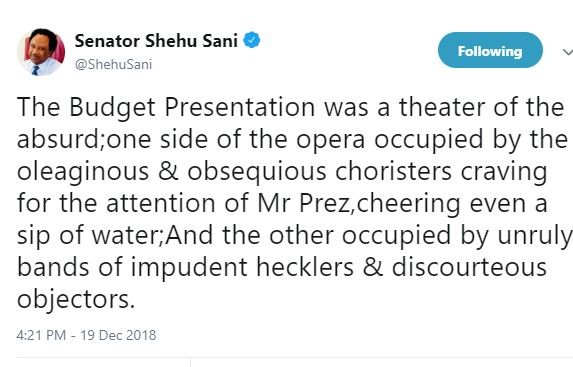The Budget presentation was a theater occupied by obsequious choristers craving for Buhari