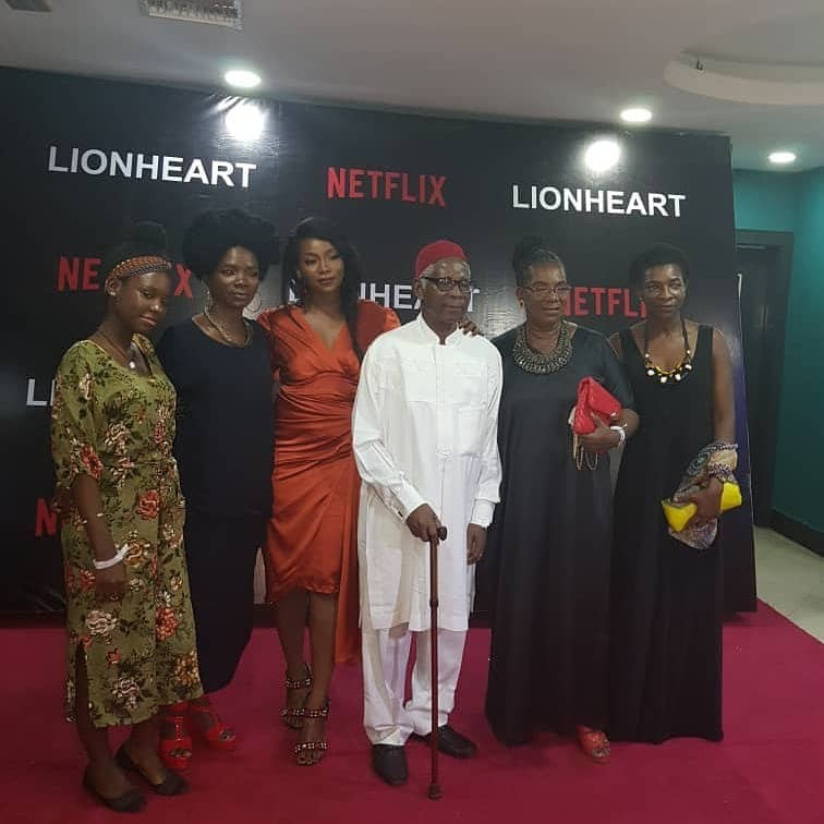 Photos: Gevevieve Nnaji and her parents attend private screening of her movie, Lion Heart