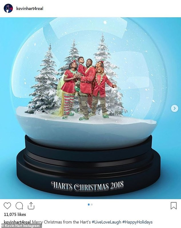 Cute Family! ?Kevin Hart and his family get stuck in a snow globe for their Christmas card? (Photos)