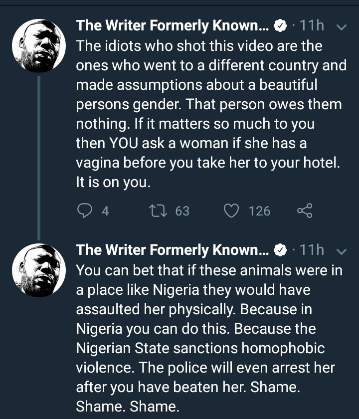 Nigerian author says the men who filmed that video of a transgender woman committed an offence