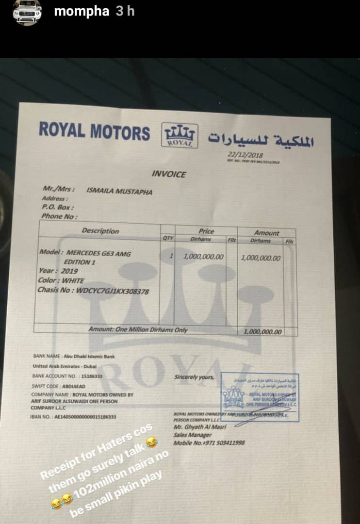 Businessman Mompha buys himself a 2019 GWagon BiTurbo Edition 1 worth N102m