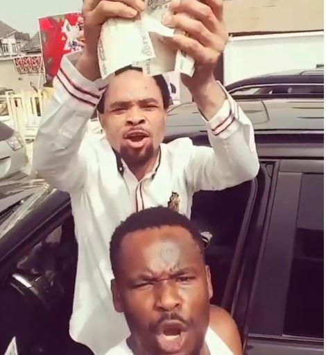 Viral Video of Pastor Odumeje showering Nollywood actor Zubby ...