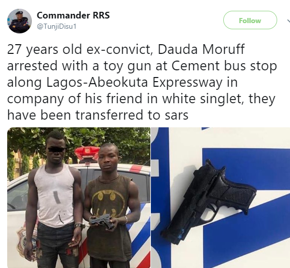 Photos: Ex-convict apprehended with toy gun in Lagos (photos)