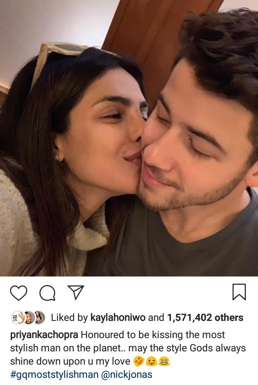 Priyanka Chopra reacts as her husband Nick Jonas is named GQ