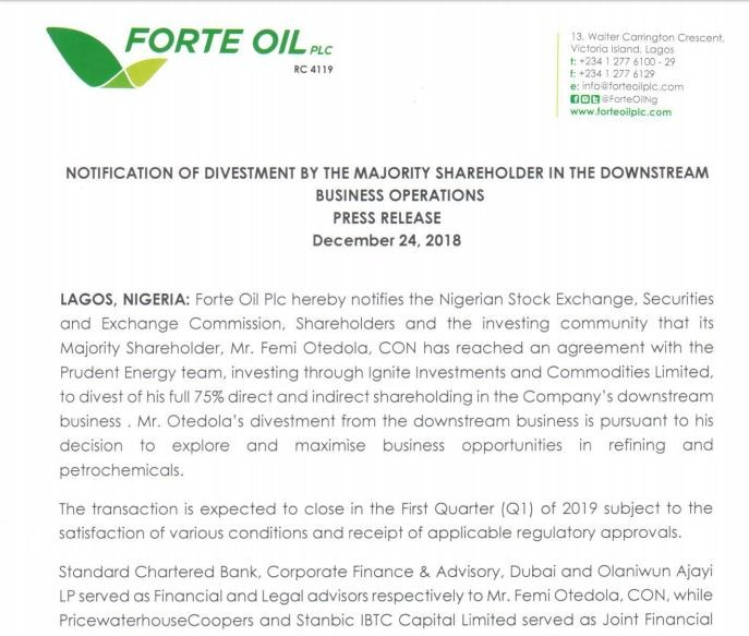 Femi Otedola sells his 75% direct and indirect shareholding in Forte Oil (Screenshot)