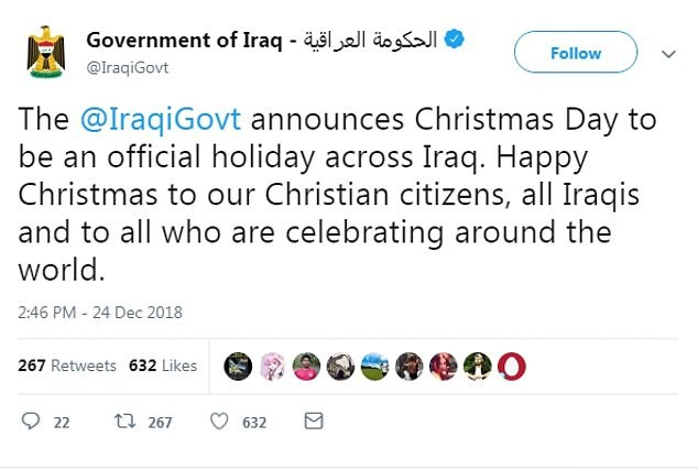 Iraq makes Christmas Day an official nationwide holiday to mark the