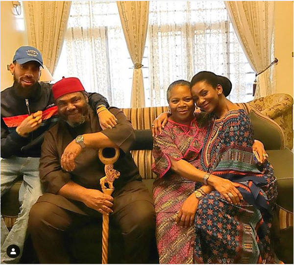 Genevieve, Phyno pictured together with Nollywood veterans Pete Edochie and Onyeka Onwenu