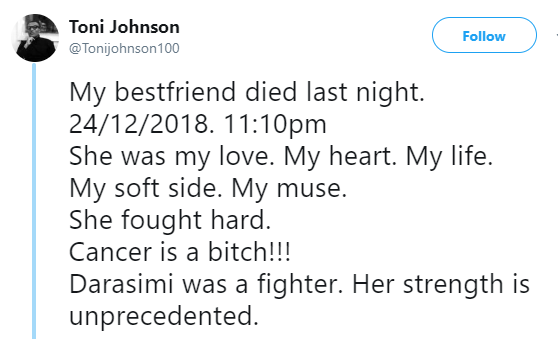 Heartbroken Nigerian man takes to twitter to mourn his friend who died after a long battle with Cancer, attacks God