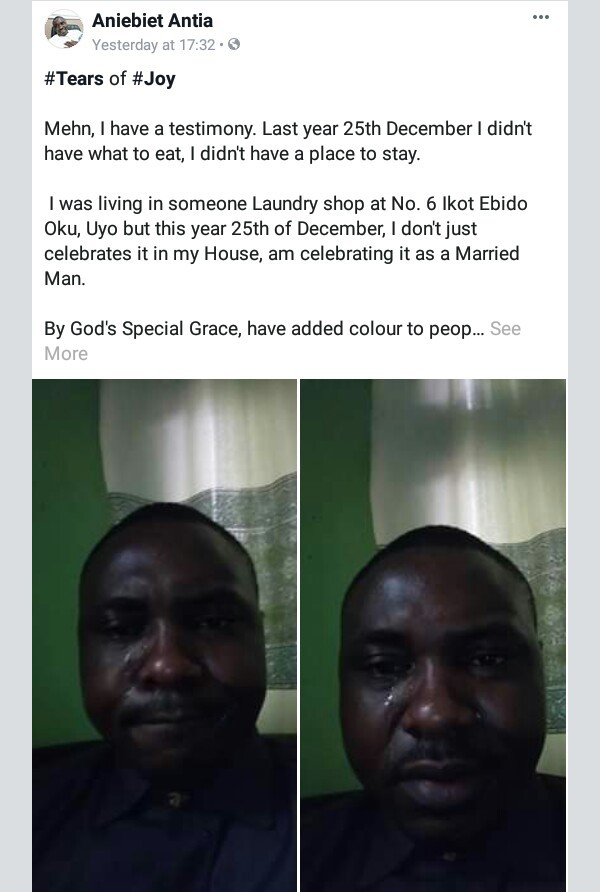 Nigerian man who was homeless last year sheds tears of joy as he celebrates Christmas in his own house as a married man