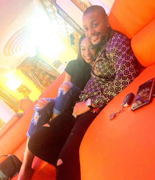 Loved up photo Alex Ekubo and his girlfriend, Fancy Acholonu