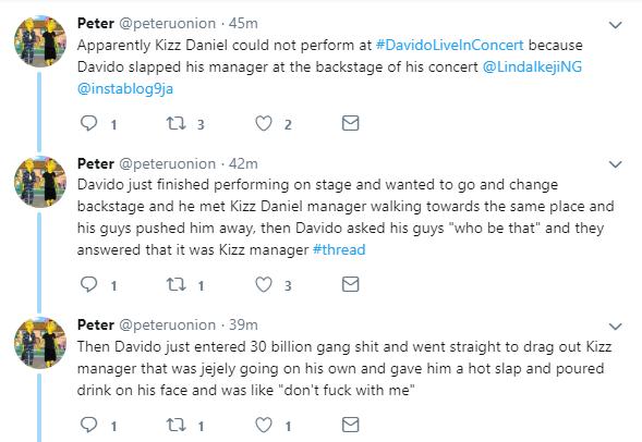 Davido allegedly slapped Kizz Daniel