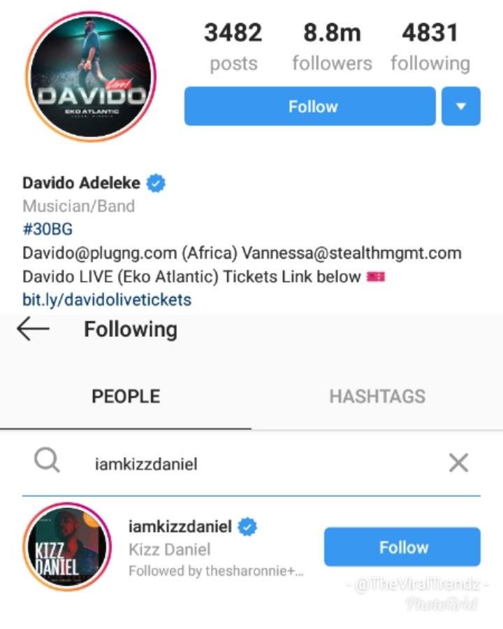 Kizz Daniel unfollows Davido on IG