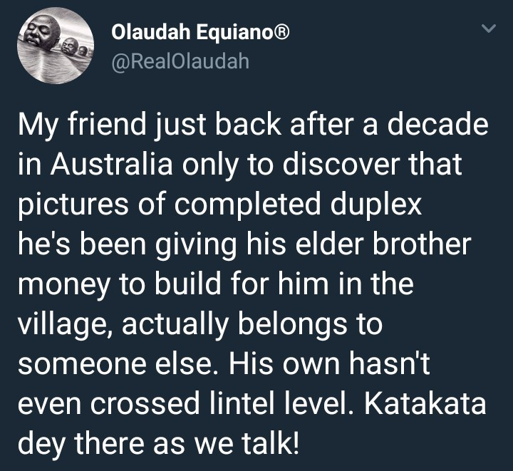 Someone reportedly just returned to Nigeria after a decade in Australia to discover his brother didn
