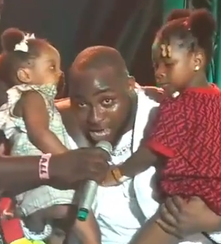 Heartwarming video showing the moment Davido brought his daughters on stage at his concert