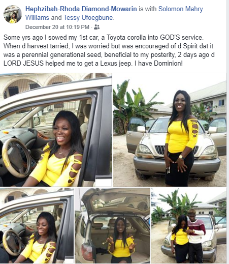 Nigerian lady appreciates God as her first car which she sowed into the kingdom some years ago, gets her a Lexus SUV