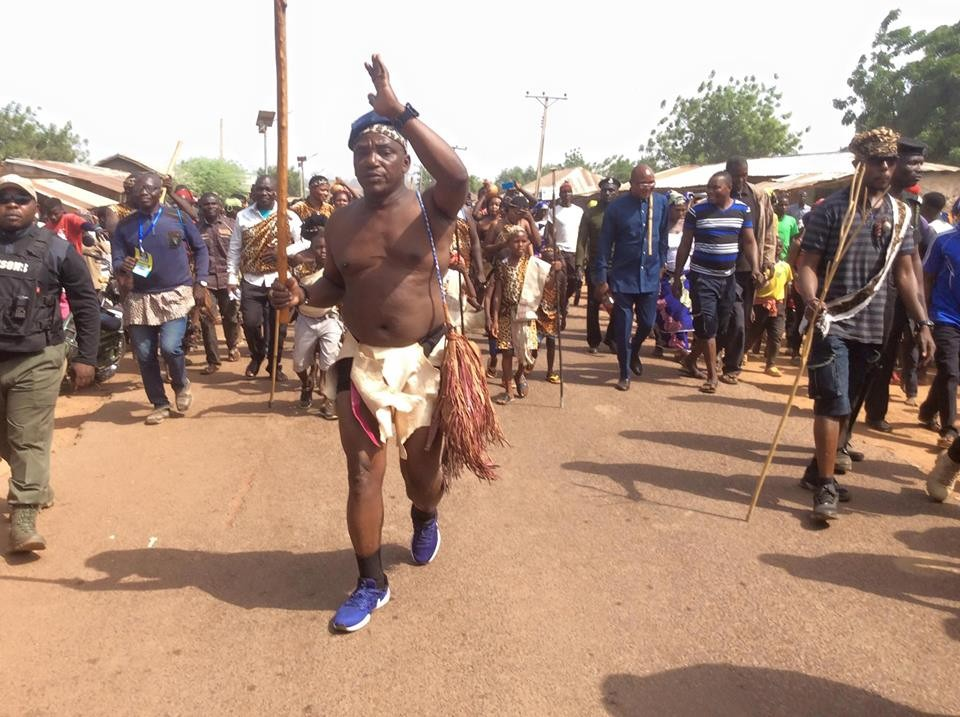 Minister of Youths and Sports, Solomon Lalung steps out in nothing but his briefs as he attends a cultural carnival in Plateau