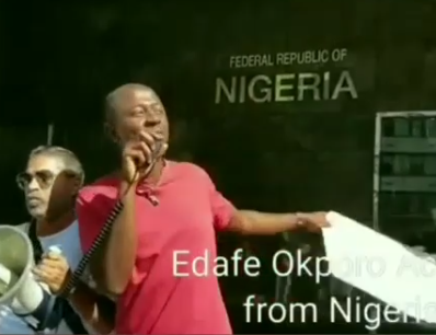 Gayrights activist, Edafe Okporo, stages protest  at the Nigerian Embassy in the US to demand the FG protect the rights of LGBTQ in Nigeria (Video)