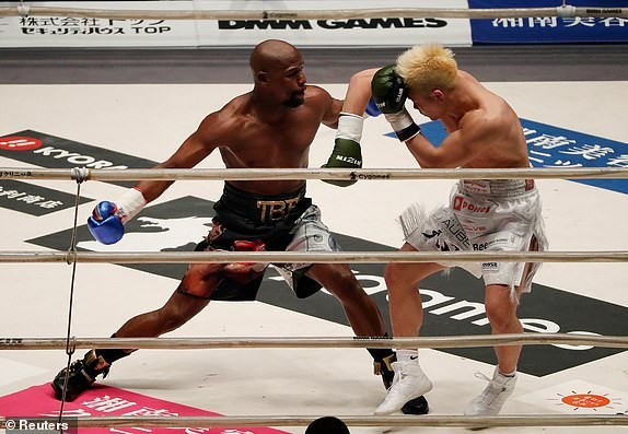 Floyd Mayweather makes $9M in just two minutes after beating 20-year-old kickboxer Tenshin Nasukawa in exhibition bout (Photos)