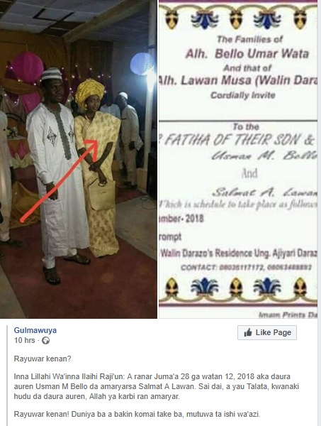 Photo: Bride dies on New Year day, four days after her wedding