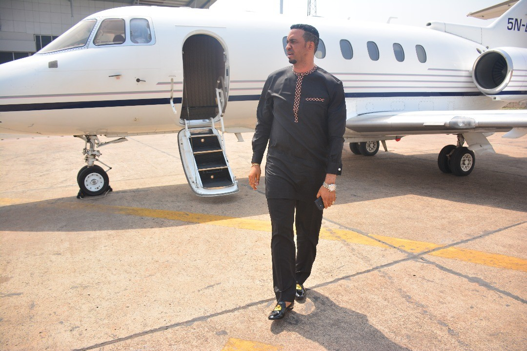 Pastor Chris Okafor shows of his newly acquired private jet