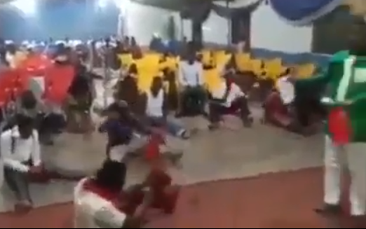 Viral video: Church members fight all their 2019 spiritual battles with the cutlass their pastor asked them to bring to church