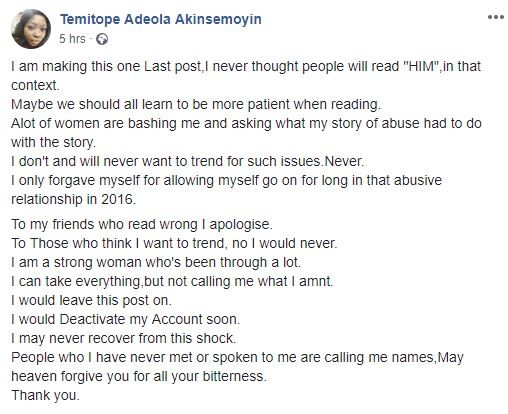 DJ Xgee who just committed suicide was my violent and abusive boyfriend in University - Tope Akinsemoyin writes