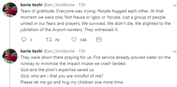 Lady shares shocking details of how fire was coming out from a commercial flight she boarded yesterday