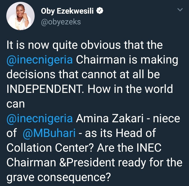 Oby Ezekwesili faults INEC chairman for appointing president Buhari