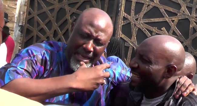 Video: Dino Melaye slumps as he arrives Police headquarters