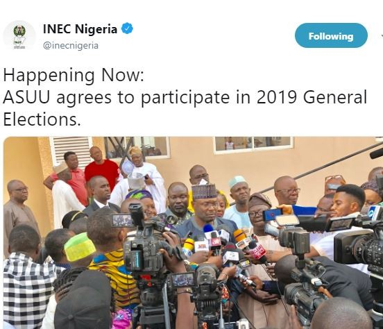 Breaking: INEC chairman confirms that?ASUU has agreed?to participate in 2019 General Elections