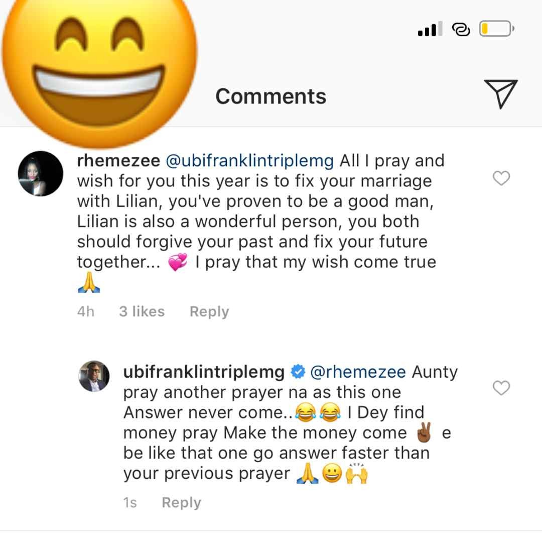 Between Ubi Franklin and a follower praying to God for the restoration of his marriage to Lilian Esoro