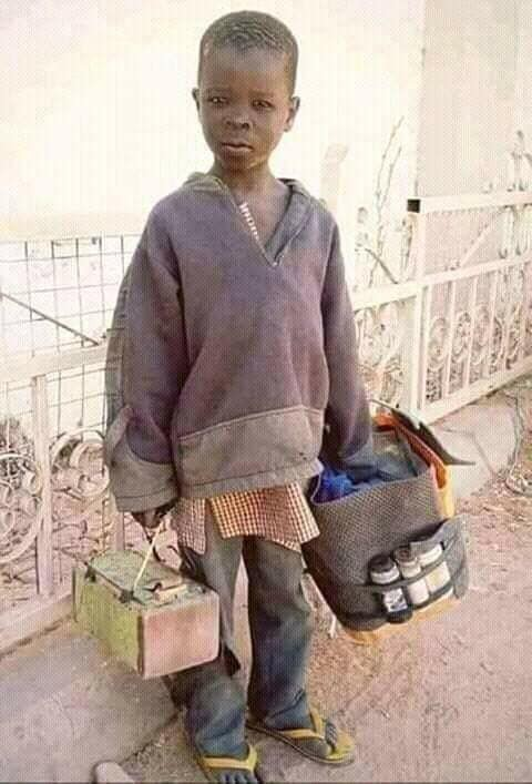 Photo of a child shoe shiner in Gombe State