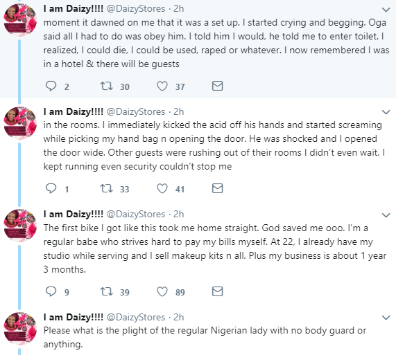 Twitter stories: Nigerian makeup artiste narrates how she narrowly escaped being used by suspected ritualists in Ibadan