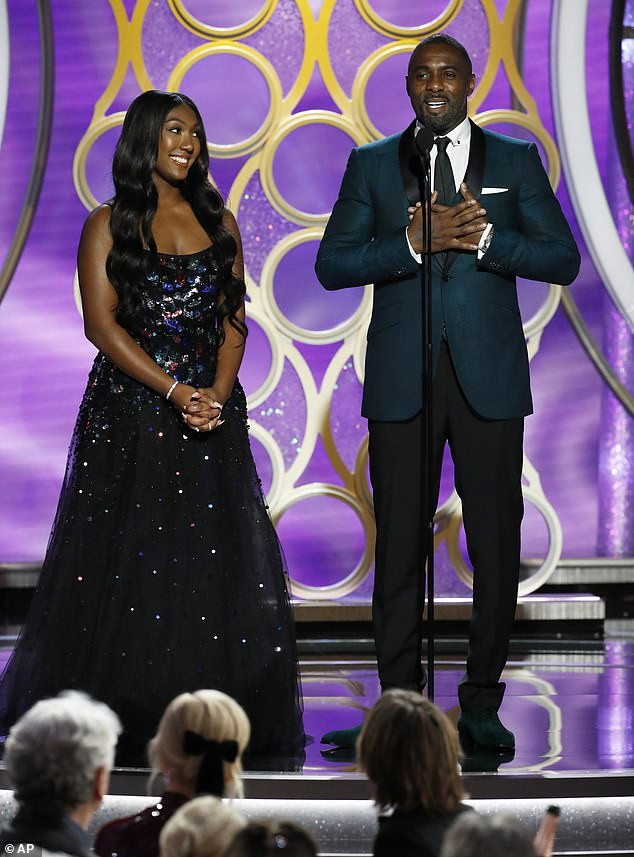 Idris Elba accompanies his 17-year-old daughter Isan to the stage as she makes her debut as Golden Globes' Ambassador for 2019 (Photos)
