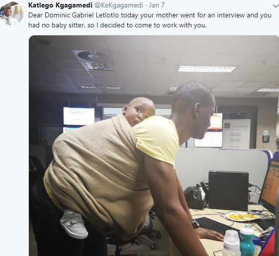 South African man goes viral after sharing this cute photo of him babysitting his child at work