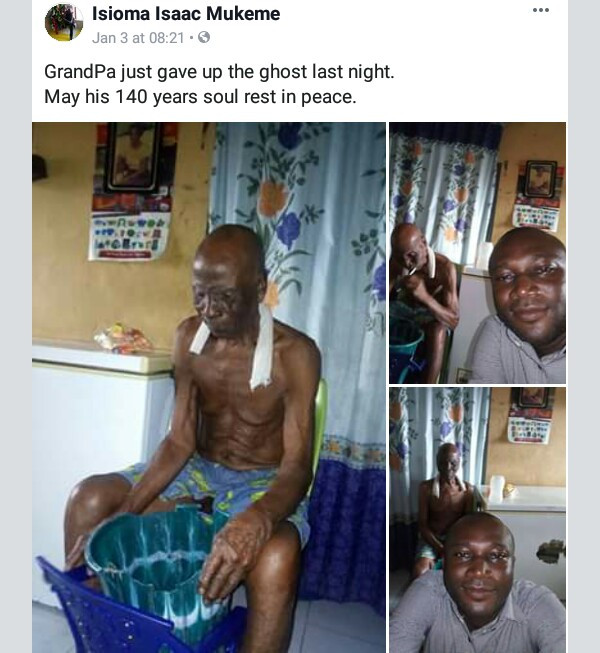 Photos: Nigerian man claims his grandfather died last week at the age of 140