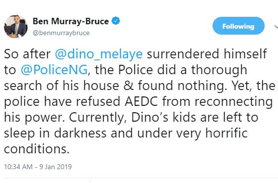 Currently, Dino Melaye?s kids are left to sleep in darkness and under very horrific conditions - Senator Ben Bruce