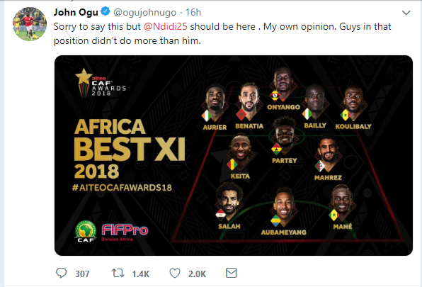 Super Eagles star John Ogu slams CAF as Nigeria missed out on Africa Best XI for 2018 says Ndidi and Troost-Ekong deserve to make the team