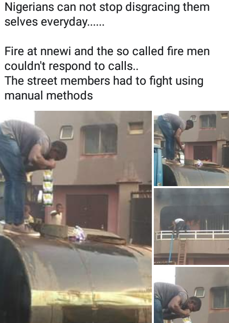 Photos: Residents in Nnewi resort to manual method; detergent and water to put out fire after Fire Service failed to respond