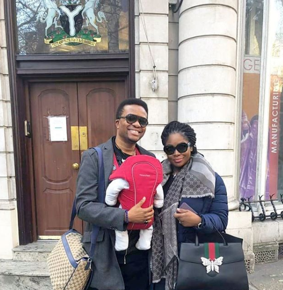 Cute photo of Toolz, her hubby Tunde and their son