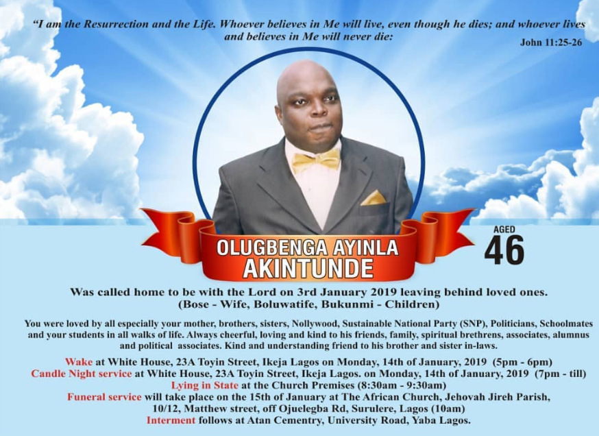 Burial poster for actor Gbenga Akintunde released