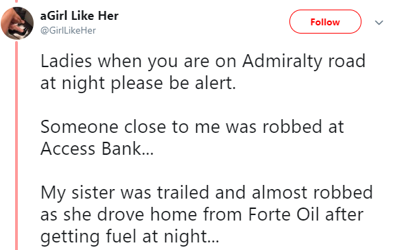 Lady recounts how she was almost attacked by suspected robbers who trailed her in Lekki