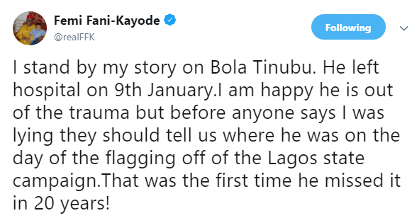 I stand by my story that Tinubu slumped and was hospitalized after his appointment as chairman of Buhari Campaign Organization - FFK
