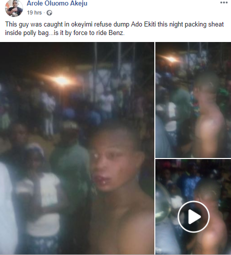 Man allegedly caught last night in a refuse dump in Ado-Ekiti collecting excreta to put into in a polythene bag