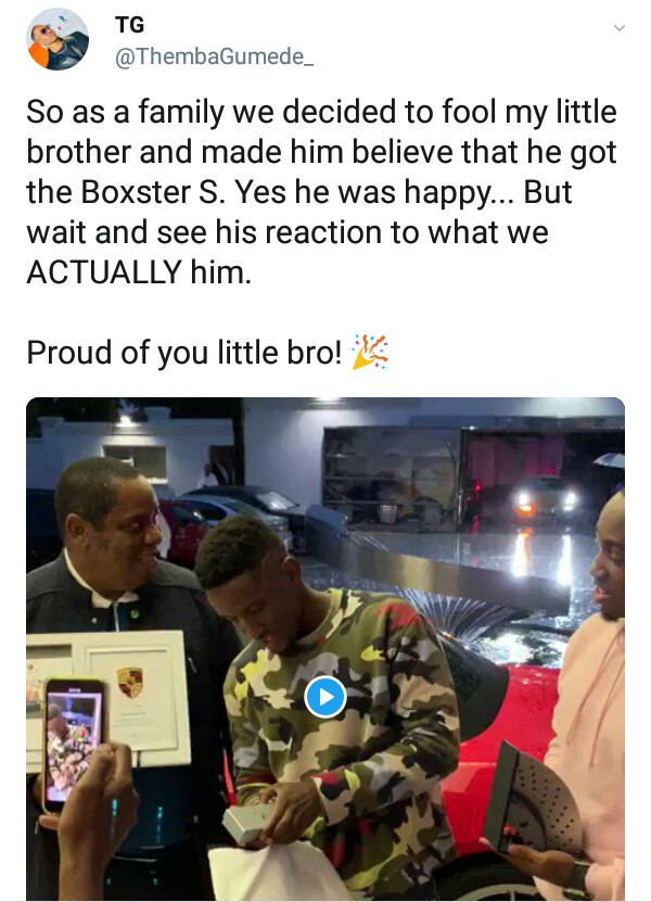 Photos/Videos: South African billionaire rewards his 18-year-old son with a Porsche for passing matric exam