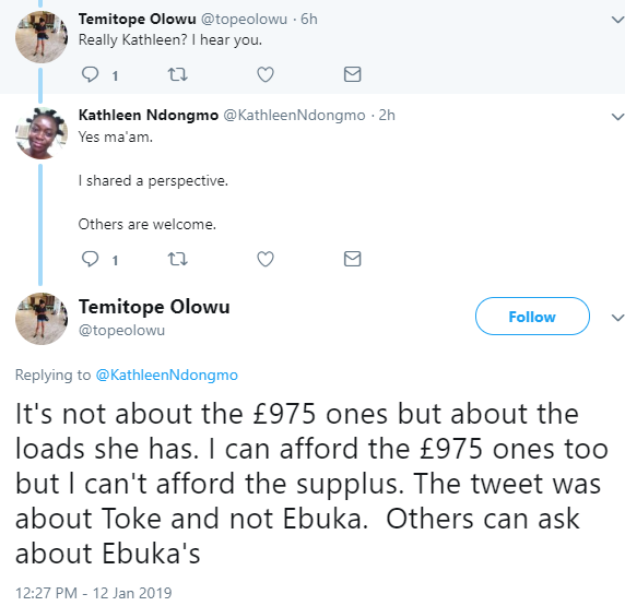 Nigerians drag twitter user who asked what Toke Makinwa does to afford the luxury things she has