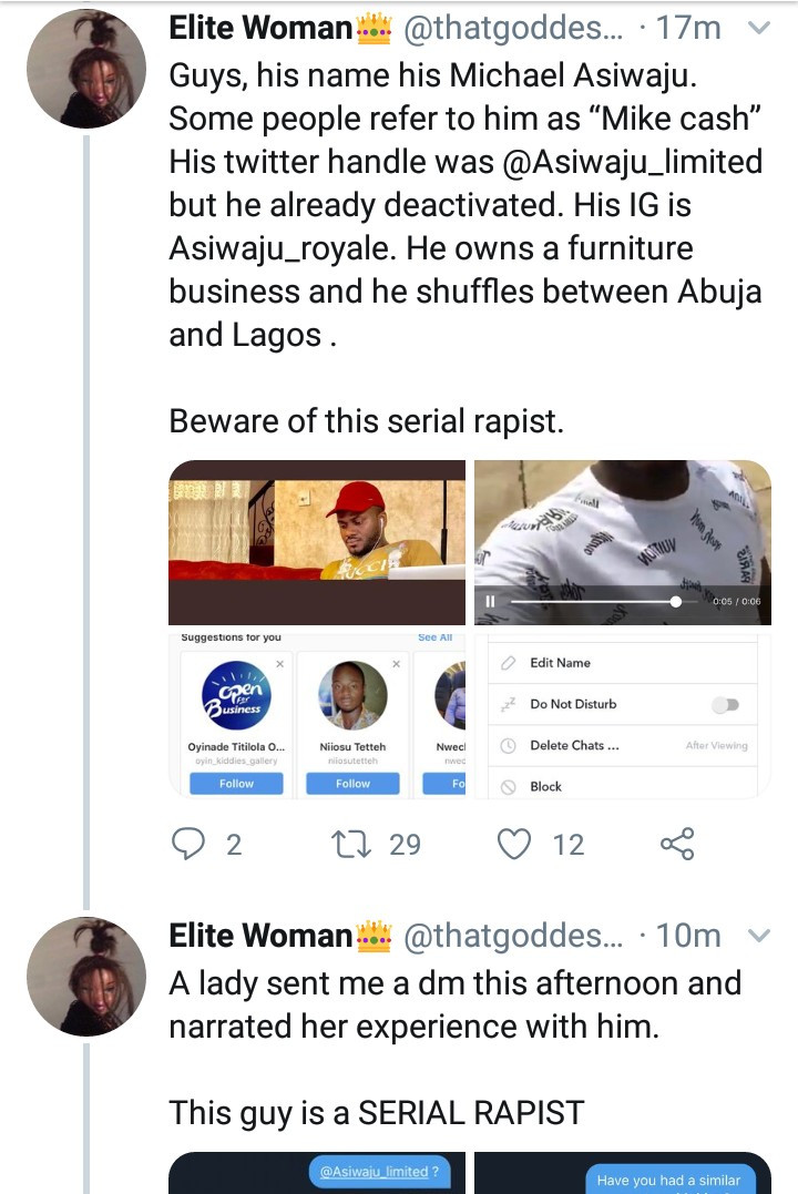 Twitter users accuse a man of being a serial rapist as alleged victim shares screenshots and narrates how he allegedly raped her