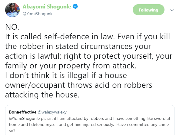 Killing an armed robber who attacked your home is lawful - ACP Abayomi Shogunle